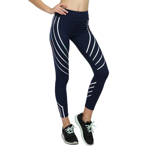 LANTECH Women Yoga Pants Sports Running Sportswear Fitness Leggings Exercise Gym Compression Tights Pants Noctilucent Glowing