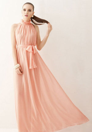 Vestidos Women Maxi Dress Elegant Boho Beach Summer Dress Perfect Fairy Hang-Neck Sexy Maternity Dress Chiffon Halter Long Dress
