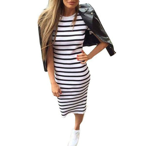 Casual Summer Women Dress Short Sleeve Round Neck Slim Fit Bodycon Dress Striped Side Split T Shirt Womens Dresses