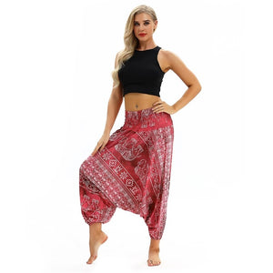 Women Soft Loose Thai Harem Pants Indie Folk Boho Festival Hippy Casual Trousers Loose Elastic Waist National Style Pants
