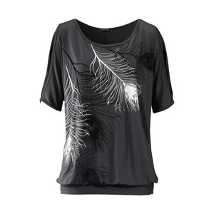 Blouses Summer Women Feather Printed shirts O- neck Strapless Shirts Off Shoulder Short-sleeved shirt Loose Type