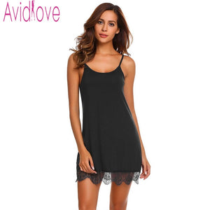 Avidlove Simple Cotton Nightgown Sleepwear Dress Homewear Nightdress Sleeveless Lace Nighty Sexy Sleepwear Sleep Home Clothing