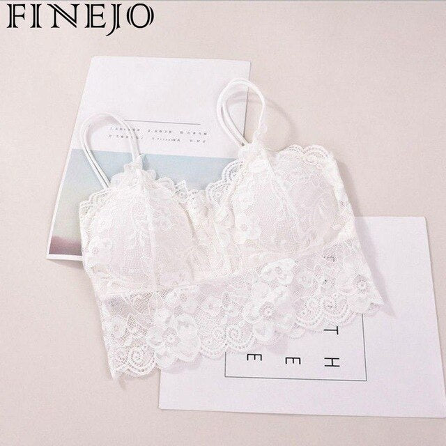 Women's Bra Hollow Out Stylish Sleeveless Lace Sell Nightclub Cami Bralette Crochet Solid Crop Tank Flower Bra Vest Sexy Hot