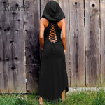Rosetic Women Dress Gothic Hooded Bandage Sleeveless O Neck Solid Color Back Openwork Retro Ladies Black Dresses Sexy Vintage