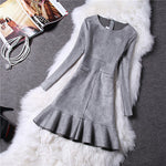 Colorfaith New 2019 Women Dresses Autumn Winter Vintage Suede Ruffles Ladies Mermaid mini Dresses High Waist with Pockets DR8153
