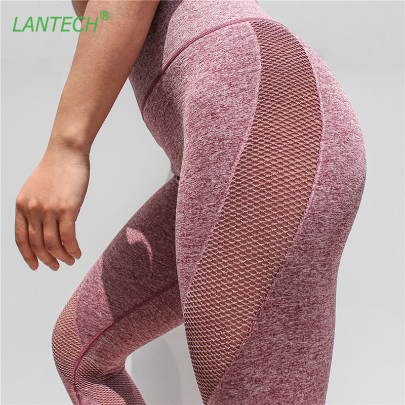 LANTECH Women Sports Running Yoga Pants Sportswear Fitness Leggings Capris Mesh Exercise Gym Compression Pants Clothes Trousers