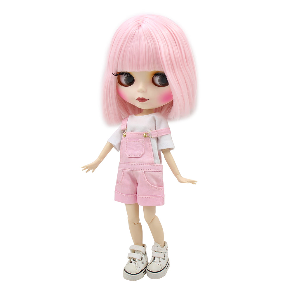 Factory blyth doll short pale pink hair matte frosted face joint/normal body white skin 130BL2352 1/6 30cm, naked doll