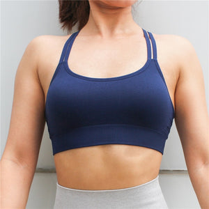 LANTECH Sports Bra Yoga Running Top With Pads Sportswear Push Up Joggings Training Women Fitness Gym Bra High Impact Criss Cross