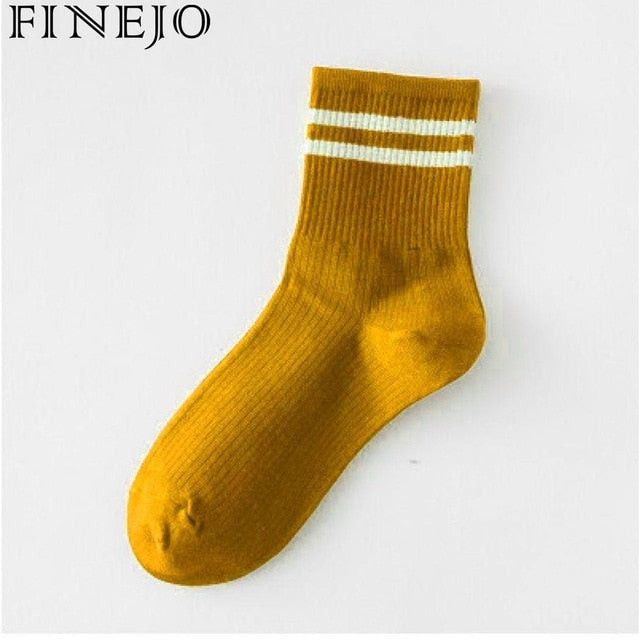 Tube 1 Cotton 2cm Socks Green Yellow Mid Black Red Pair White Casual Women 8cm Comfortable Striped Socks Gray