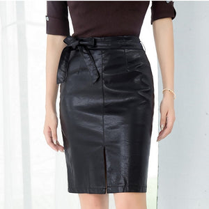 Colorfaith New 2019 Women PU Leather Skirt Autumn Winter Pencil Eelegant Bow Ladies Fashion Package Hip Slit Midi Skirt SK3440