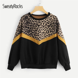 SweatyRocks Leopard Panel Drop Shoulder Sweatshirt Long Sleeve O-Neck Pullover Tops 2018 Fashion Autumn Women Casual Sweatshirts