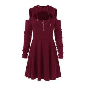 Rosetic Women Hoodie Dress Goth Spring Casual Fitness Black Hooded Streetwear Girl Sexy Pleated Hollow Off Shoulder Mini Dresses