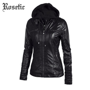 Rosetic Gothic faux leather coats Women hoodies Winter Autumn Motorcycle Jacket Black Outerwear faux leather PU Jacket  Coat HOT