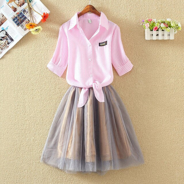 Shirt And Sling Tutu Dress Suit Women 2019 Summer Cute 2 Piece Dress Blue Pink Shirt And White Veil Dresses Plus Size 3XL 4XL