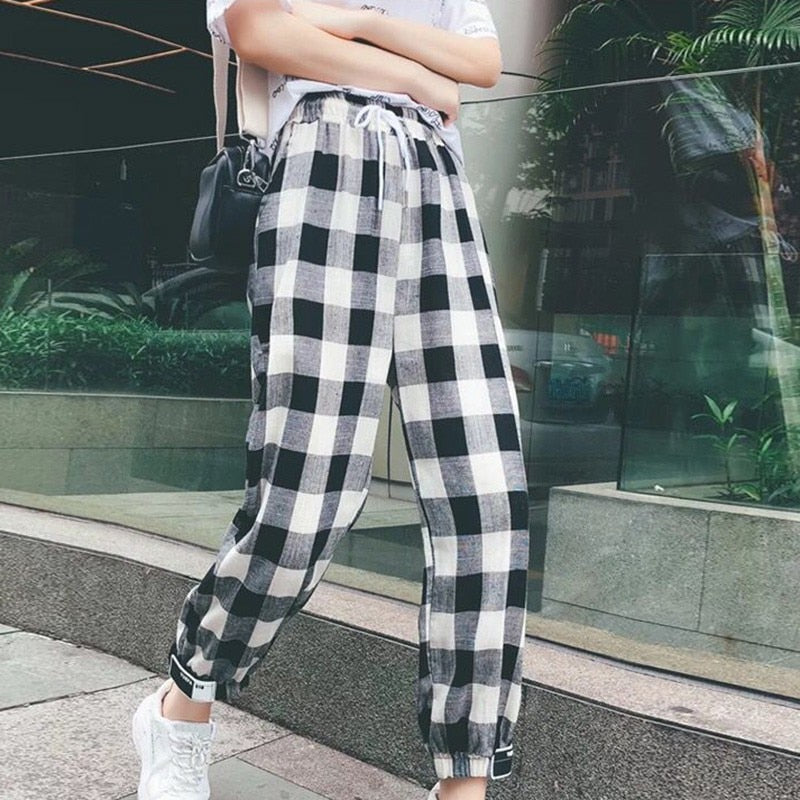 Black White Plaid Pants Sweatpants Women Side Stripe Trousers Casual Cotton Comfortable Elastic Pants Joggers H9