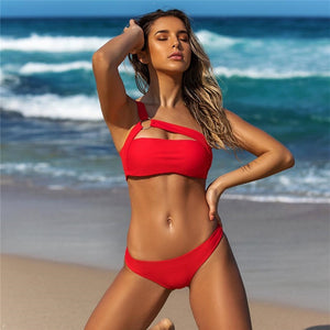 Sexy One Shoulder Bikini 2019 Leopard Swimsuit Red Swimwear Women Push Up Bikinis Set Brazilian Beach Wear Swim for Bathing Suit
