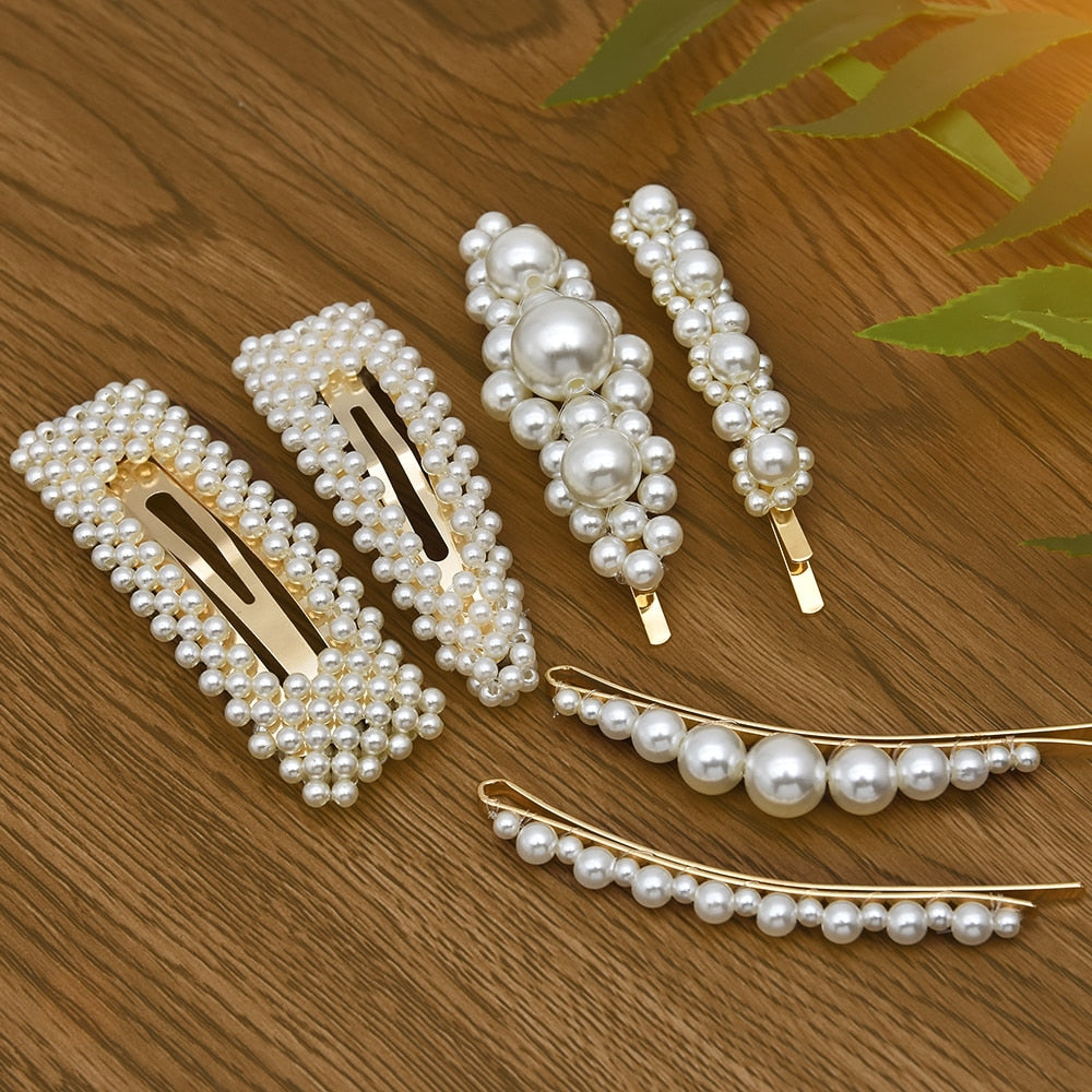 Korean 6 stlyes Acrylic Imitation Pearl Women Barrettes Elegant for female girl Hair Clip Hairgrips Hair Accessories New 2019