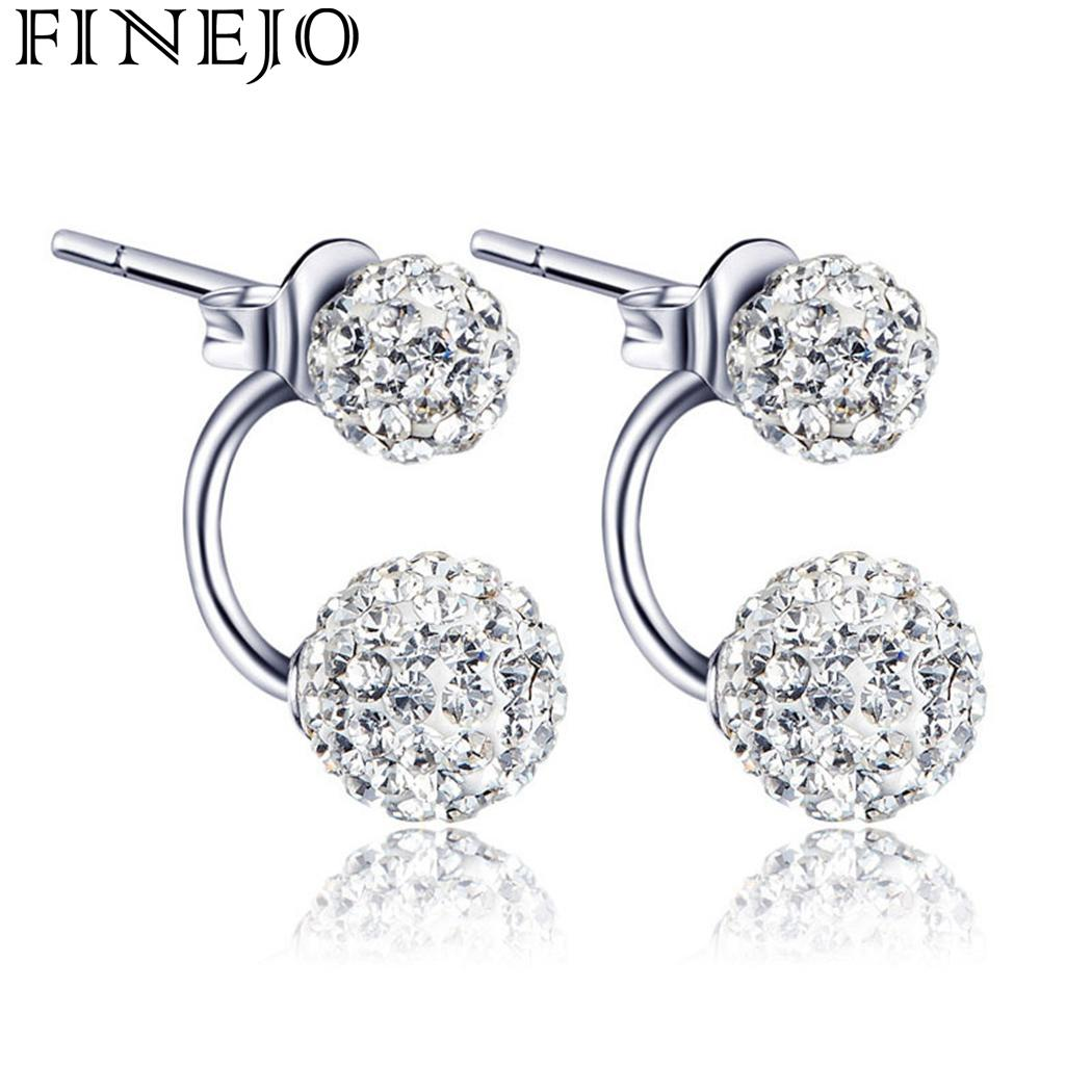 Women commemorative Employee benefits Silver Pair Crystal Beaded Tourism Rhinestone Stud Jewelry Earrings Piercing Double