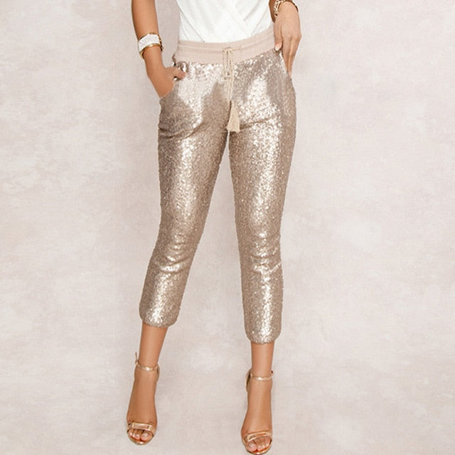 Fashion Sequin Pencil Pants 2019 New Hot Solid Black/Gold Women Drawstring Waist Bling Party Nightclub Calf-length Trousers