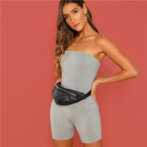 SweatyRocks Slim Fitted Solid Tube Romper Sleeveless Streetwear Female Jumpsuits 2019 Summer Women Bodycon Grey Short Playsuits