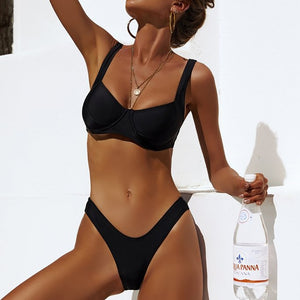 Sexy Solid Black Bikini Push Up 2019 Swimwear Women Swimsuit maillot de bain femme Thong Bikinis Set Swimming for Bathing Suit