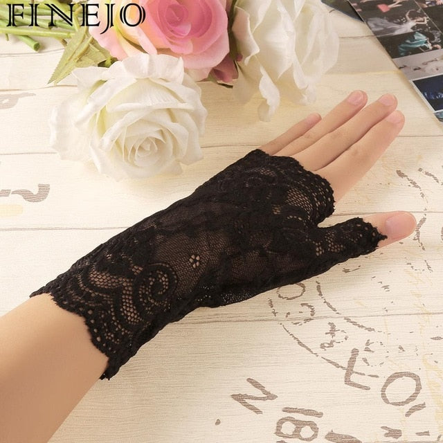 FINEJO 2018 Women Gloves vintage Amazing Goth Party sunscreen Sexy Dressy Lace anti-uv Mittens Fingerless Style Feminina Mitten