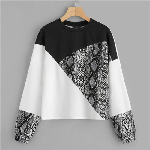 SweatyRocks Color Block Snake Skin Pullover Long Sleeve O-Neck Streetwear Jumpers Fashion Autumn Casual Womens Sweatshirts