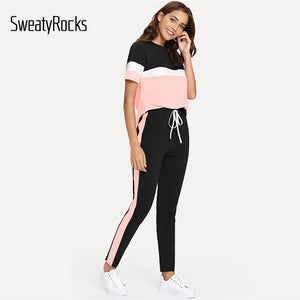 SweatyRocks Color Block Tee And Drawstring Tape Pants Set Streetwear Short Sleeve Women Tracksuit 2019 Spring Casual 2 Piece Set