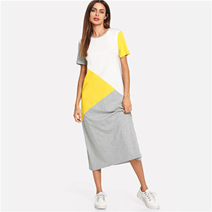 SweatyRocks Color Block Tunic Dress Women Streetwear Straight Loose Long Dresses 2019 Spring Summer Short Sleeve Casual Dress