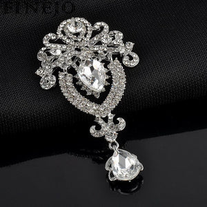 FINEJO 1Pc Fashion brooches for women Charming Rhinestone Accessories Wedding Resin Party Pin Pendant Brooches All-match jewelry