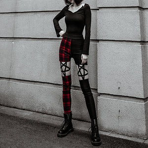 Rosetic Pentagram Women Black Pants Gothic Cool Slim Thin High Waist Zipper Plaid Color Red Plaid Hollow Punk Style Pencil Pants
