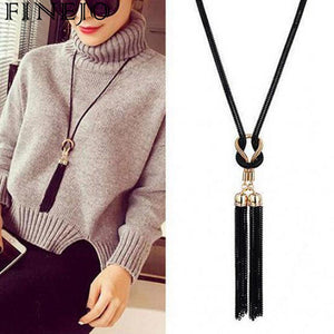 FINEJO Women Long Necklace Black Color Popcorn Casual  Lobster Pendant Necklace For Women  Sweater Tassel Chain Gift Jewelry