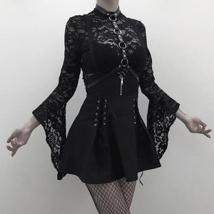 Rosetic Woman Sets Black Two Piece Goth Sexy Lace Bodysuit Rompers A Line Dress Suspender Lace Up See Through Club Wear Girl Set