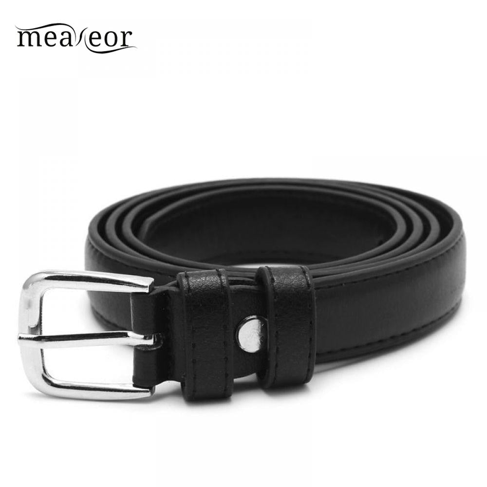 Meaneor Leather Belt Black KLV Metal Antique Fashion Faux Belt Female Woman Buckle Jeans PU Leather Belts Unisex