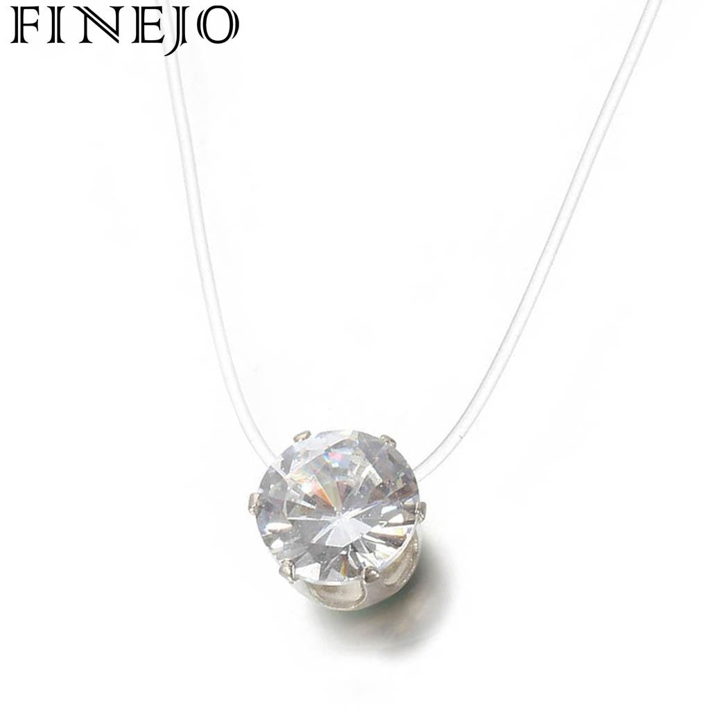 FINEJO Women Necklace Jewelry Transparent Fashion Invisible Fishing Line Rhinestones Chain Women Pendant Necklace Gift New Sale