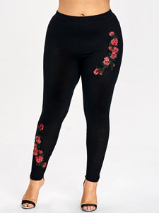 Rosegal Plus Size Embroidery Floral Leggings Women Pants Leggins Skinny Elastic Fitness Jeggings Pencil Pants Ladies Trousers