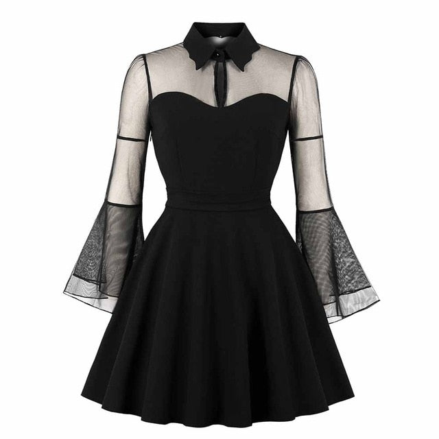 Rosetic Women Gothic Sexy Mini Dress Black Mesh Patchwork See-Through Flare Sleeve Draped Elegant Plus Size Party Short Dresses