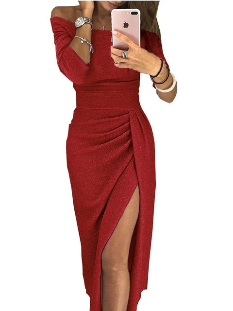 Slit Off-Shoulder Solid Slimming Dress