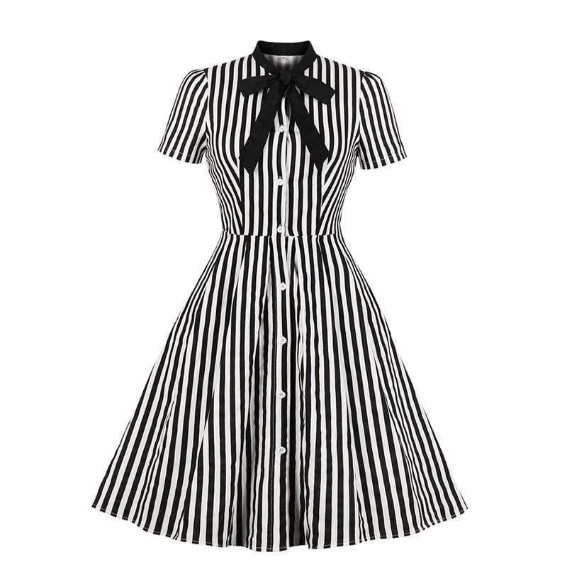 Rosetic Vintage Stripe Midi Dress Women Summer 50s Bow Collar Elegant Office Casual Stylish Goth Ladies Retro Rockabilly Dresses