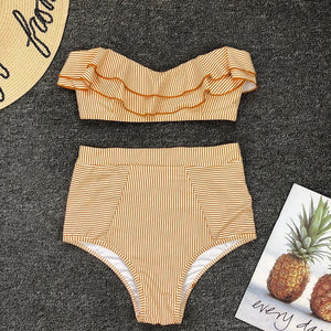 Sexy Ruffled Bikini 2019 Bandeau Swimwear Women Strapless Striped Swimsuit High Waist Bikini Set Swimming for Women Bathing Suit
