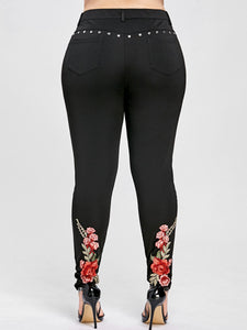 Rosegal Plus Size Floral Embroidery Rivet Pencil Pants Women Leggings Skinny High Elastic Women Trousers Big Size Ladies Pants