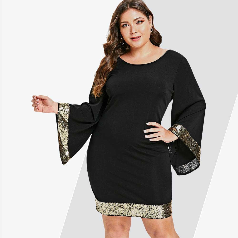 Rosegal Plus Size Sequins Flare Sleeve Dress Women V Neck Long Sleeve Bodycon Dress Female Office Party Work Dresses Vestido 5XL
