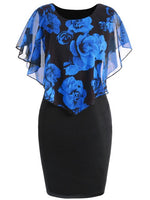 Rosegal Plus Size Women Dress Sexy Rose Overlay Capelet Bodycon Summer Dress 2019 Casual Office Party Dresses Vintage Vestidos