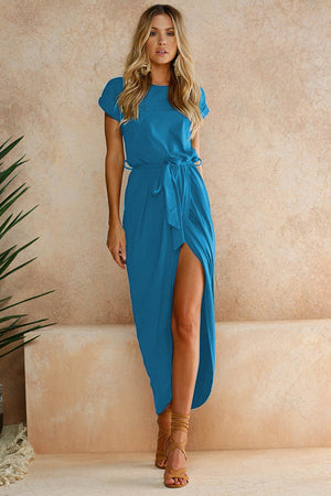 Asymmetrical Solid Ankle-length O-neck Belted Dress