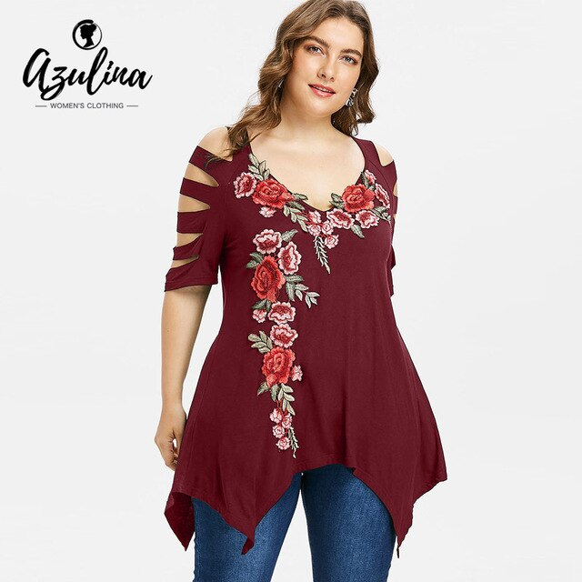 Rosegal Plus Size Embroidery T-Shirts Women T Shirts Summer Casual V-Neck Half Sleeve Ladder Cut Ladies Tops Women Clothing 2018