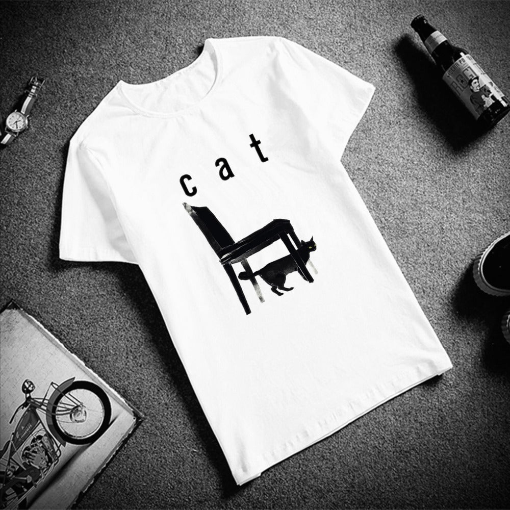Cotton O Neck  Short Sleeve Cat T Shirt