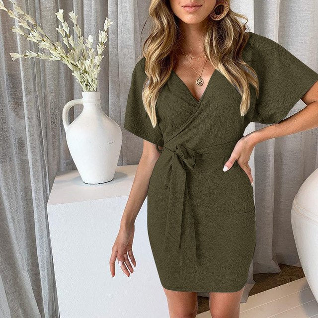 Self Belted V-neck Dress