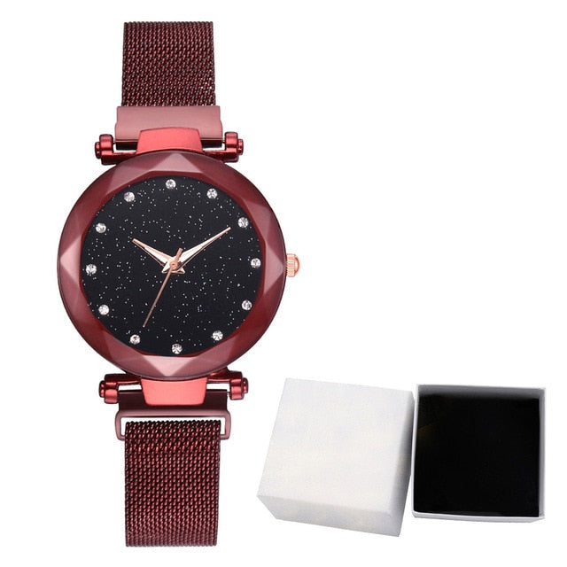 Luxury Women Stainless Steel Mesh Hook Buckle Quartz Wrist Watch With Box