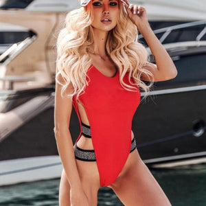 Sexy Leopard Red Black Swimwear Women One Piece Swimsuit 2019 Bodysuit Monokini Swimming for Bathing Suit maillot de bain femme