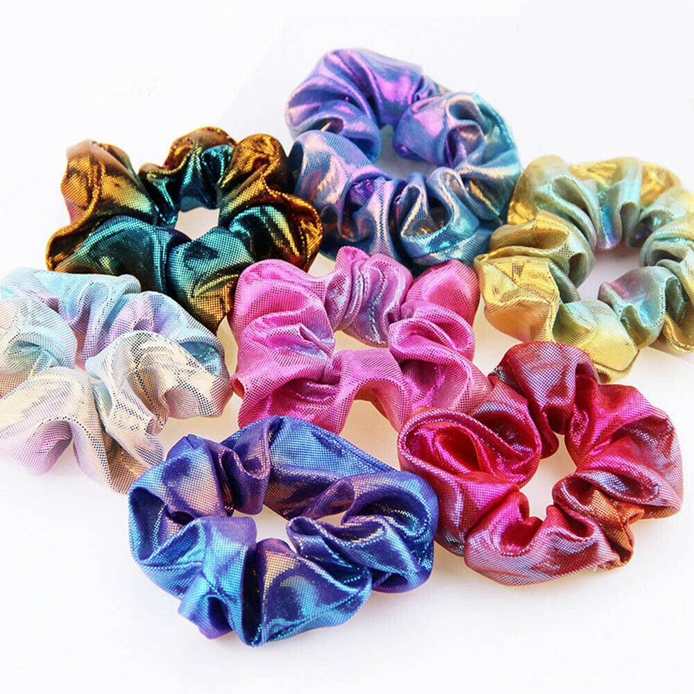 2019 New Fashion Women Colorful Elastic Bronzing Hair Rope Glitter Ponytail Holder Hair Ring Scrunchie 1 PC